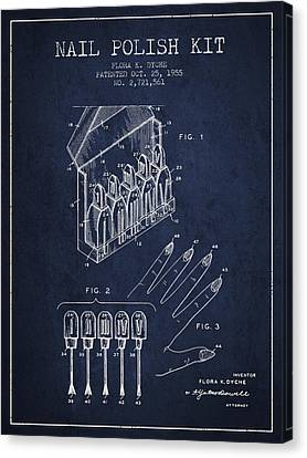 Nail Polish Kit Patent From 1955 - Navy Blue Canvas Print by Aged Pixel