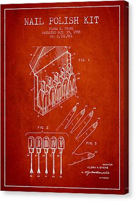 Nail Polish Kit Patent From 1955 - Red Canvas Print by Aged Pixel