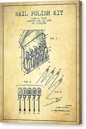 Nail Polish Kit Patent From 1955 - Vintage Canvas Print by Aged Pixel