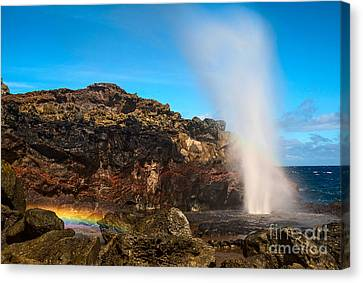 Blowhole Canvas Print - Nakalele Rainbow - Blowhole In Maui. by Jamie Pham