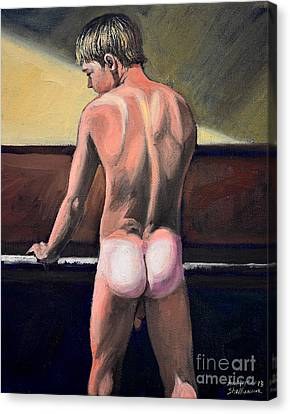 Naked Nude Male Piano Player Canvas Print