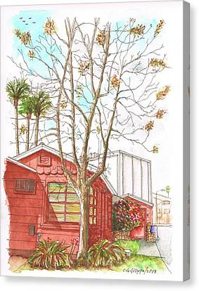 Naked Tree And Brown House In Cahuenga Blvd., Hollywood, California Canvas Print by Carlos G Groppa