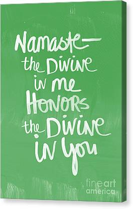 Buddhist Canvas Print - Namaste Card by Linda Woods