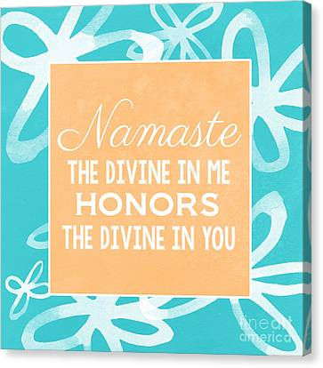 Namaste Watercolor Flowers- Blue Canvas Print by Linda Woods