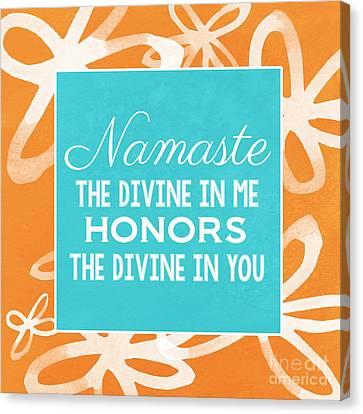 Namaste Watercolor Flowers Canvas Print by Linda Woods