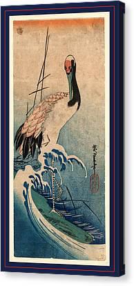Nami Ni Tsuru, Crane In Waves. Between 1833 And 1835 Canvas Print by Utagawa Hiroshige Also And? Hiroshige (1797 ? 1858), Japanese