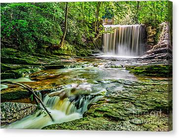 Nant Mill Waterfall Canvas Print by Adrian Evans