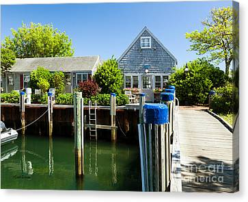 Nantucket Boat Basin Cottages In The Spring Canvas Print by Michelle Wiarda