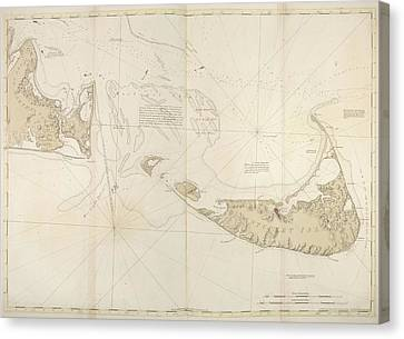Charts Canvas Print - Nantucket Island by British Library