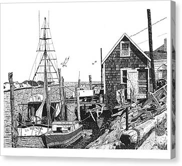 Nantucket Wharf Canvas Print by Paul Kmiotek