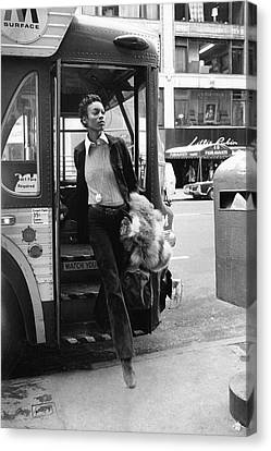 Footpath Canvas Print - Naomi Sims Getting Off A Bus by Berry Berenson