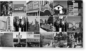 Traintown Canvas Print - Napa Sonoma County Wine Country 20140906 Black And White by Wingsdomain Art and Photography