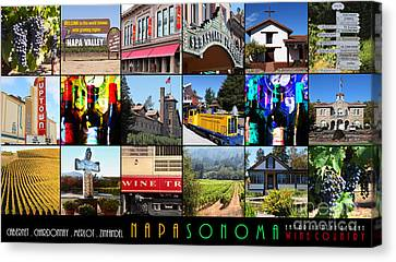 Traintown Canvas Print - Napa Sonoma County Wine Country 20140906 With Text by Wingsdomain Art and Photography