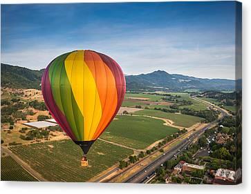 Napa Valley Balloon Aloft Canvas Print by Steve Gadomski
