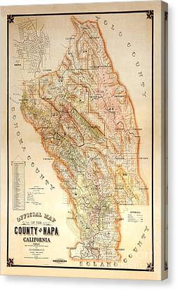 Wine Bottle Canvas Print - Napa Valley Map 1895 by Jon Neidert