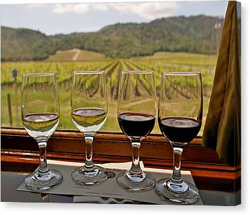 Napa Valley Wine Train Delights Canvas Print by Michele Myers