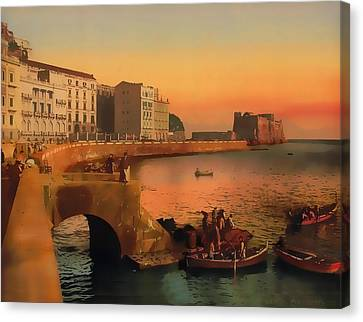 Canvas Print featuring the painting Naples Italy 1920 by Douglas MooreZart