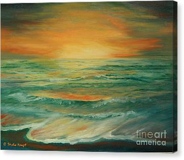 Canvas Print featuring the painting Naples Mystical Sunset by Shelia Kempf