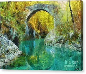 Napoleon Bridge Across The River Nadiza Canvas Print by Dragica  Micki Fortuna