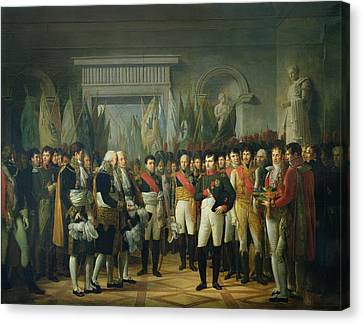 Napoleon I 1769-1821 Receiving The Deputies Of The Conservative Senate At The Royal Palace Canvas Print by Rene Theodore Berthon