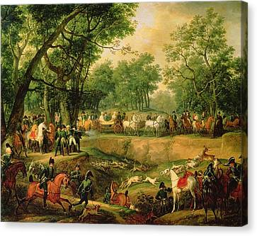 Napoleon On A Hunt In The Compiegne Forest, 1811 Oil On Canvas Canvas Print