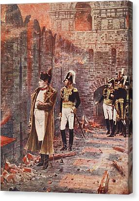 Napoleon Watching The Fire Of Moscow Canvas Print by Nikolai Stepanovich Vereshchagin