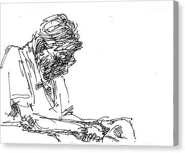 Napping At Waiting Room Canvas Print by Ylli Haruni