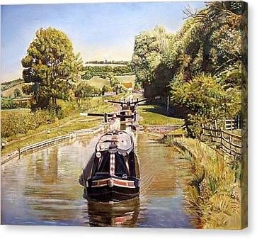 Napton Top Lock, 2008 Oil On Canvas Canvas Print by Kevin Parrish
