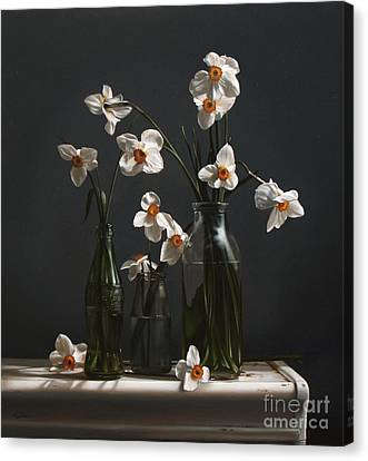 Narcissus And Bottles Canvas Print by Larry Preston