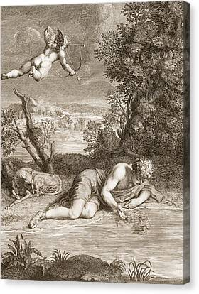 Narcissus Transformed Into A Flower Canvas Print by Bernard Picart