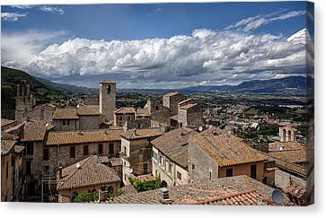 Canvas Print featuring the photograph Narni Roof Tops by Uri Baruch