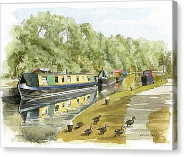 Narrow Boats On The Grand Union Canal Canvas Print