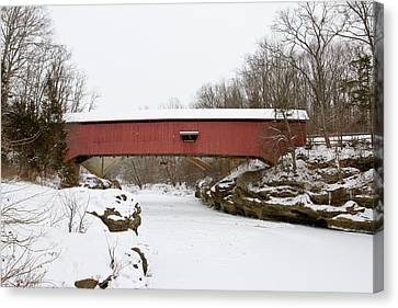 Narrow Covered Bridge In Winter, Turkey Canvas Print by Panoramic Images