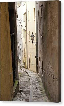 Michael Canvas Print - Narrow Street In Passau, Germany by Michael Defreitas