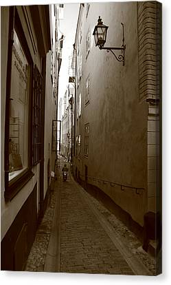 Narrow Street With Motor Scooter - Monochrome Canvas Print by Ulrich Kunst And Bettina Scheidulin