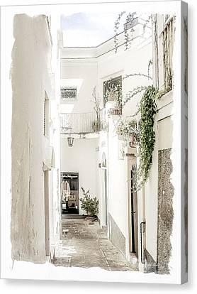 Narrow Walkway Of Capri Canvas Print by Julie Palencia