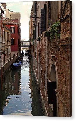 Canvas Print featuring the photograph Venice Narrow Waterway by Walter Fahmy