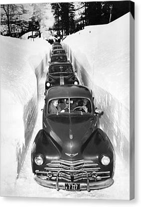Narrow Winter Road Canvas Print by Underwood Archives