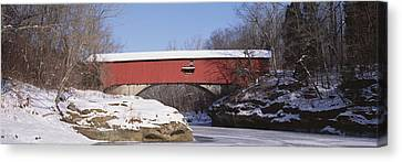Narrows Covered Bridge Turkey Run State Canvas Print by Panoramic Images