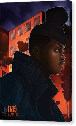 Canvas Print featuring the drawing Nas Illmatic by Nelson  Dedos Garcia
