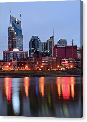 Nashville Across The Cumberland River Canvas Print by Frozen in Time Fine Art Photography