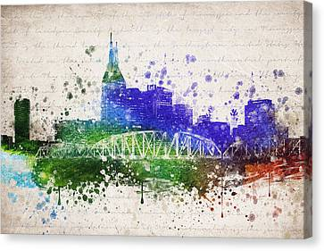 Downtown Nashville Canvas Print - Nashville In Color by Aged Pixel