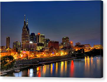 Nashville Lit Up Canvas Print by Zachary Cox