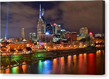 Nashville Night Canvas Print by Frozen in Time Fine Art Photography