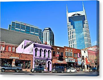 Nashville On The Strip Canvas Print by Frozen in Time Fine Art Photography