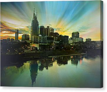 Downtown Nashville Canvas Print - Nashville Over The Cumberland by Steven Michael