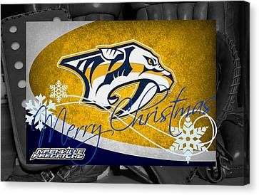 Nashville Canvas Print - Nashville Predators Christmas by Joe Hamilton