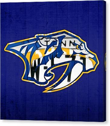 Nashville Predators Hockey Team Retro Logo Vintage Recycled Tennessee License Plate Art Canvas Print by Design Turnpike