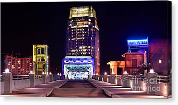 Downtown Nashville Canvas Print - Nashville Sight Night Skyline Pinnacle Panorama Color by Jon Holiday