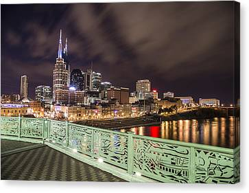Nashville Skyline And Bridge Canvas Print by John McGraw